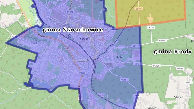 Mapka powiatu starachowickiego